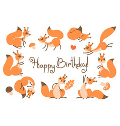 happy birthday card with cute squirrels in a vector image