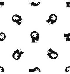 head with puzzle pattern seamless black vector image
