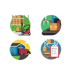 Icons warehouse and logistic vector