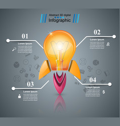 infographic design bulb light rocket icon vector image