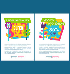 internet pages set special promotion 80 off label vector image