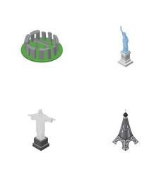 isometric architecture set of england new york vector image