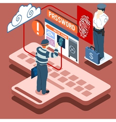 Isometric infographic thief biometric recognition vector