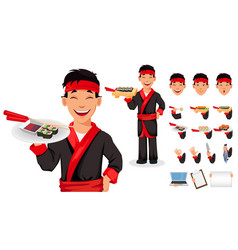 Japanese chef cooking sushi rolls vector