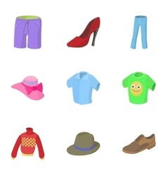 Kind of clothing icons set cartoon style vector