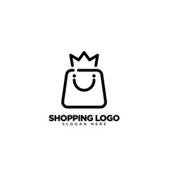 King shop logo design with monoline style vector