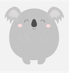 koala bear round icon kawaii animal face head vector image