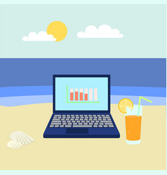 Laptop on beach concept banner flat style vector