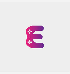 Letter e game logo design template gamepad icon vector