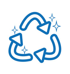 Line recycle symbol to ecology planet care vector