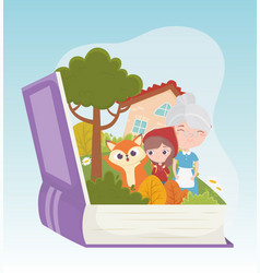 little red riding hood grandma wolf house forest vector image