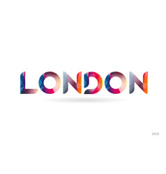 London colored rainbow word text suitable for vector