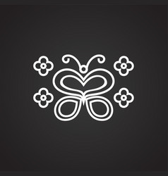 love butterfly thin line on black background vector image