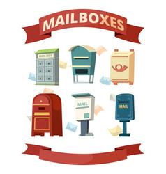 mail boxes containers for post letters vector image