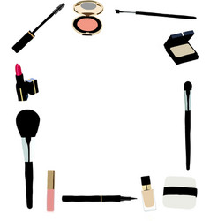 Makeup and cosmetics frame vector image
