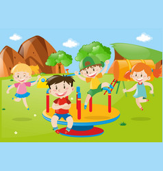 Many kids playing at playground vector