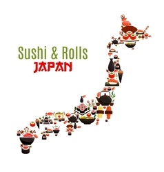 Map of Japan of seafood sushi sashimi and rolls vector