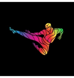 Martial arts jump kick color rainbow silhouette vector image