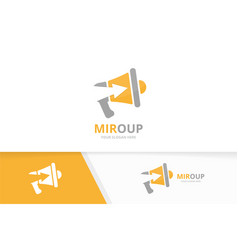 Megaphone and arrow up logo combination vector