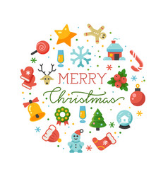 merry christmas round banner template vector image