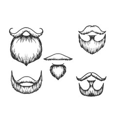 Moustache and beard engraving vector