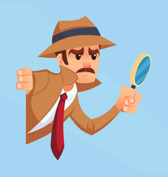 Noir detective with magnifying glass peeking out vector