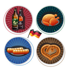 Oktoberfest labels with beer and snacks vector