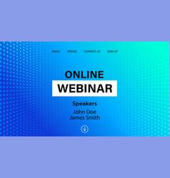 Online webinar landing page template vector