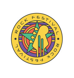 original rock festival logo template music fest vector image