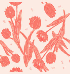 peach coral tulips with coral butterflies seamless vector image