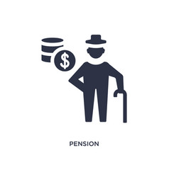 Pension icon on white background simple element vector