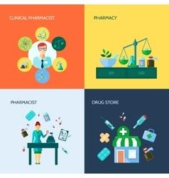 Pharmacist Flat Icon Set vector image