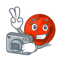 Photographer mars planet mascot cartoon vector