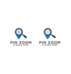 pin map with magnifier logo design template vector image