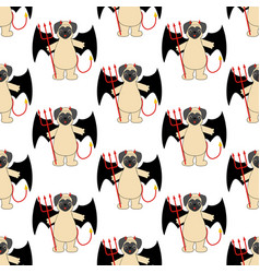 pug in devil costume seamless pattern vector image