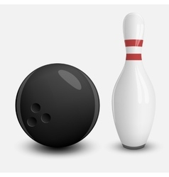 Realistic Ball and Pin of Bowling vector