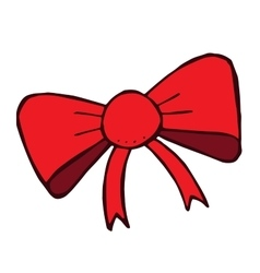 Red doodle bow isolated Hand drawn fashion vector