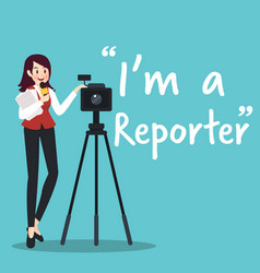 reporter character with microphone and camera vector image