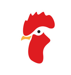 rooster head logo design template isolated vector image
