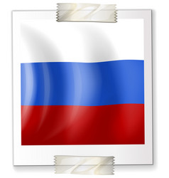 russia flag on square paper vector image