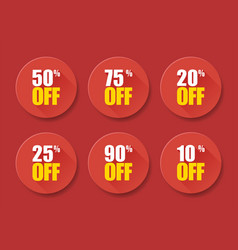 Sale tags set badges template 10 off 20 25 50 75 vector