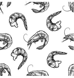 seamless pattern with black and white shrimp vector image