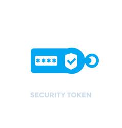 Security token on white icon vector