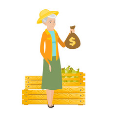 Senior caucasian farmer holding a money bag vector