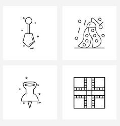 Set 4 line icon signs and symbols spade vector