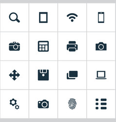set of simple hardware icons vector image