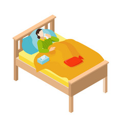 sick person bed composition vector image