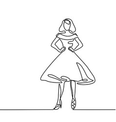 Silhouette of slender woman in midi dress vector