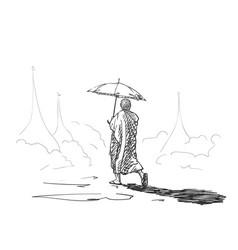 Sketch buddhist monk with umbrella walking vector