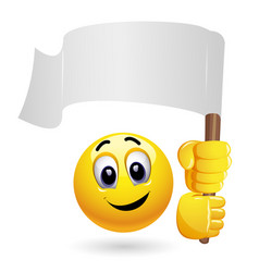 Smiley emoticon waving big blank flag smiley vector